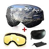 Skibrille, mit Beschlag- und UV-Schutz, für Wintersportarten, Snowboardbrille mit austauschbarer, sphärischer Dual-Linse, für Männer, Frauen und Jugendliche, für Schneemobil-, Skifahren oder Skaten, silber