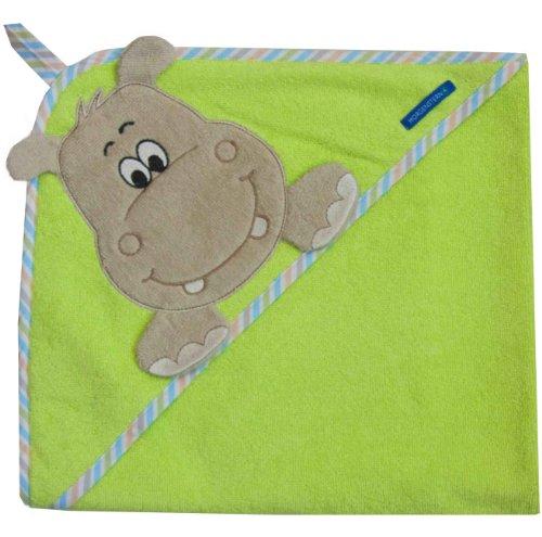 Morgenstern, Kapuzentuch 100x100 cm, Motiv Nilpferd (Hippo) , 100 % Baumwolle
