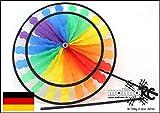 Wunderschönes Windrad   Rainbow in leuchtenden Farben   2018   Durchmesser 40cm   Länge 100cm   wetterbeständig   Windspiel   Windmühle   Windturbine   Magic Wheel twin   mit stabilem 80cm Stab   Regenbogen   Wind   Expressversand   molinoRC BRD