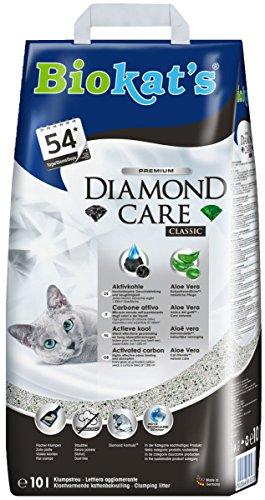 Biokats Diamond Care Katzenstreu, Hochwertige Klumpstreu für Katzen mit Aktivkohle und Aloe Vera, 1 x Papierbeutel 10 L