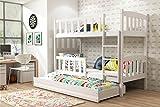 Interbeds Etagenbett QUBA 3 (für Drei Kinder) 200x90cm mit Matratzen, Lattenroste und Schublaade; Farbe: WEIβ, GRAU, Erle oder Kiefer (weiβ mit weiβ)