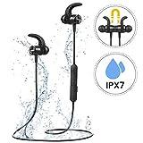 Bluetooth Kopfhörer In Ear, Mpow S10 IPX7 Wasserdicht Sport Kopfhörer, 8-9 Stunden Spielzeit/Dreiband-EQ/Mikrofon, Sportkopfhörer Joggen/Laufen/Fitness, Magnetisches Headset für iPhone Android