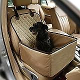 Pecomer Hund Autositzbezug 2 in1 Pet Bucket Cover Booster Sitz Rutschfest Wasserdicht Verstellbar Autositzabdeckung Sitzbezug Hundetransport Vordersitz für SUVs, Autos & Fahrzeuge (Beige)