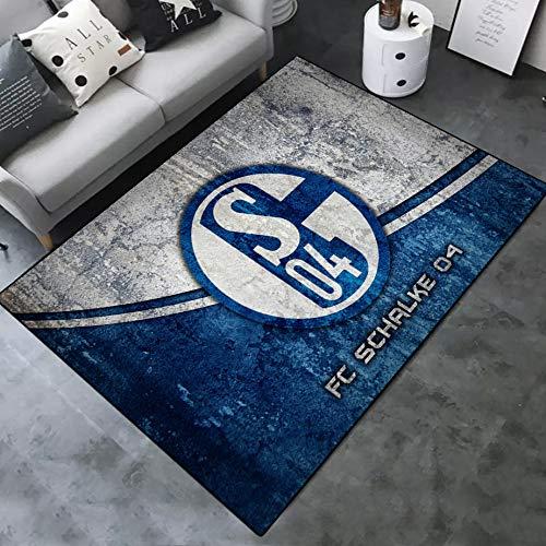 INSTUS Teppich Einfach Kunst Dekoration Teppich Fußball Verein Logo Drucken Rutschfeste Matte Kinderzimmer Dekoration Fußbodenteppich/Schalke / 120 * 160cm
