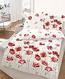Blumen Bettwäsche 135x200 | Mohnblumen Design | 100% Baumwoll Bettwäsche 135x200 | Bettbezug 135x200 & Kissenbezug 80x80 | Tolle Sommerbettwäsche