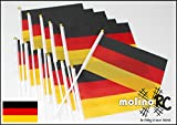molinoRC | 12x Deutschland-Fahne | WM EM | Stockfahne | Fan-Set | Kinder-Fahne BRD | Fähnchen | Deutschland-Flagge | deutsche Marke