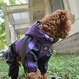 lovelonglong Hunde Regenmantel mit Hoodie, Atmungsaktive Regenjacke mit Vier Beinen im Freien Einstellbare wasserdichte Regenjacke für Kleine, Mittel, Große Hunde Purple XL