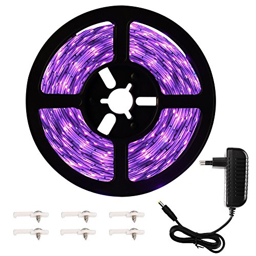 Onforu 5M UV Schwarzlicht LED Streifen mit Netzteil | UV LED Strip 300 LEDs Lichtband Leiste | Selbstklebend 2835 SMD LED Band | Geeignet für Dekorationsbeleuchtung Party Bar Club Disco Karneval