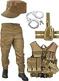 normani United States Marine Corps Kostüm Set bestehend aus Weste, Hose, Handschellen und Feldmütze Farbe Coyote Größe S