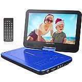 10.5' Tragbarer DVD-Player mit Wiederaufladbarer Batterie, 1024*600 Digital TFT Schwenkbaren Bildschirm, unterstützt SD-Karte und USB (Blau)