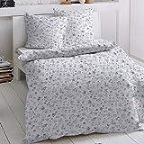 Traumschlaf Bettwäsche Set Blumen • Kuschelig Weiche Biber Baumwoll Bettwäsche Mit Romantischem Blumenmuster • 135x200 cm + 80x80 cm