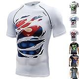 Khroom Hochwertiges Herren Funktionsshirt | Perfekt für Fitness & Gym - Kompressionsshirt im stylischen Helden Design (Superman weiß, XL)