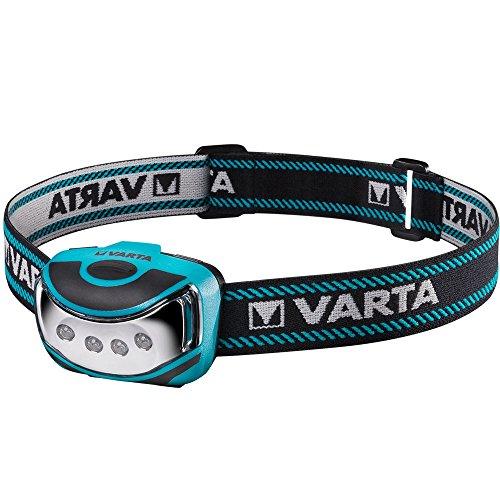 Varta 4x 5 mm LED Outdoor Sports Head Light ( inkl. 3x High Energy AAA Batterien Kopfleuchte Taschenlampe Flashlight Stirnlampe robustes (Falltest 2 m) und spritzwassergeschütztes IPX4 Gehäuse)