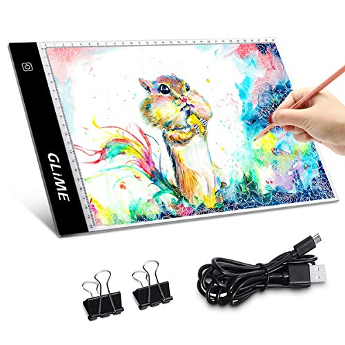GLIME Licht Pad A4 LED Leuchttisch Leuchtplatte Light Pad LED Zeichnung Pad einstellbare Helligkeit Lichtkasten Copy Board mit USB Kable Ideal für Designen Kopieren Zeichnen Skizzieren Animation