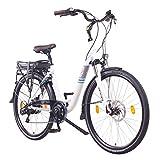 NCM Munich 36V, 26' / 28' Zoll Elektrofahrrad, Herren & Damen Pedelec, E-Bike City Rad, 250W Bafang Heckmotor, 13Ah 468Wh Lithium-Ionen-Akku, Mechanische Scheibenbremsen (28' in Weiß)