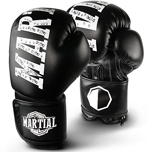 MARTIAL Boxhandschuhe aus Profi Material für lange Haltbarkeit! Kickboxhandschuhe für Kampfsport, MMA, Sparring und Boxen mit optimaler Schlagdämpfung. Handschuhe mit hohem Tragekomfort inkl Beutel! (14oz, Schwarz)