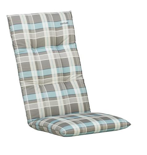 Kettler Sesselauflage für Hochlehner – komfortable Stuhlauflage mit Kreisheftung und Karomuster – 120 cm hohe Polsterauflage aus Baumwolle – türkis & grau