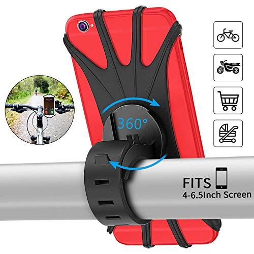 PEYOU Handyhalterung Fahrrad, [2019 Neu] Fahrrad Handyhalterung Silikon für iPhone X/8/7/6 Plus,Samsung, Huawei und Handy mit 4-6,5 Zoll, Verstellbarer Handyhalter für Fahrrad Motorrad, 360° Rotation