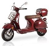 Elektroroller Classico Li, 3000 Watt, E-Scooter, Elektro-Roller, E-Roller mit Straßenzulassung, 45 km/h, 2 herausnehmbare Lithium-Akkus, Produktvideo, Bordeaux Rot