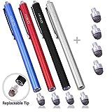 MEKO 4 Stück Eingabestift Stylus TouchScreen Pen für Apple iPad iPhone Tablet Samsung Galaxy(Schwarz / Silber / Rot / Blau)