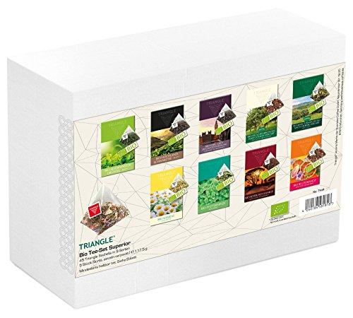 Bio Tee-Set Superior mit 45 Triangle Sachets - Tee Geschenkset / Tee Probierset, 117,5 g
