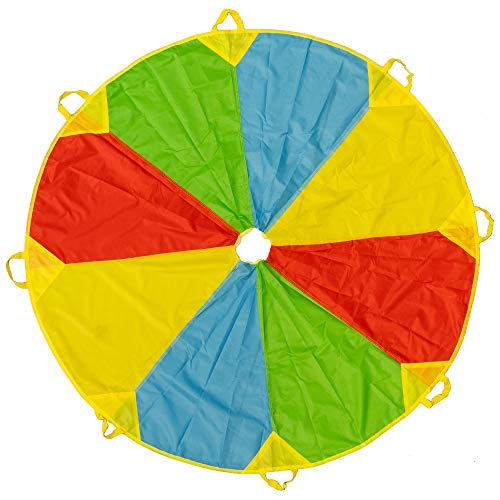6ft/ 1.8m Schwungtuch Fallschirm Spielzeug - Regenbogen Parachute 24 Griffen Gymnastik Geschicklichkeit Turnen - Stunden Des Spaßes, Der Unterhaltung Für Kinder Kleinkinder - Beliebt Bei Party Gruppen