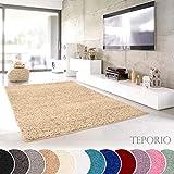 Teporio Shaggy-Teppich | Flauschiger Hochflor fürs Wohnzimmer, Schlafzimmer oder Kinderzimmer | einfarbig, schadstoffgeprüft, allergikergeeignet (Beige - 120 x 170 cm)