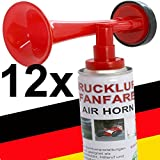 12 x Fanfare Druckluftfanfaren Gashupe Hupe Tröte Signal Stadion-fähige Hupe Air Horn - Trend-Time  - Versand als DHL Paket