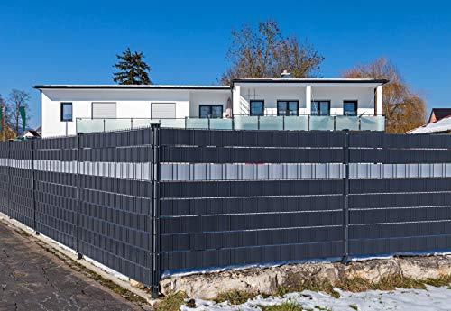 Premium Zaunsichtschutz HART-PVC / 9 x Streifen 2,525 m/Höhe 19 cm Anthrazitgrau - Zaun Sichtschutzstreifen Fachhandelsware für Doppelstabmattenzaun Zaun Sichtschutz anthrazit - keine Folie