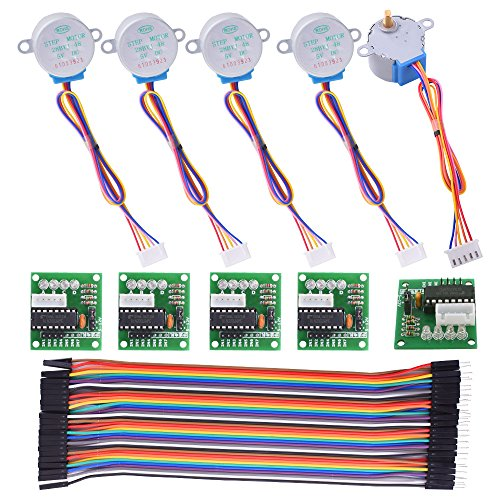Kuman Stepper Motor for arduino 5 sets 28BYJ-48 ULN2003 5V Stepper Motor + ULN2003 Driver Board + Dupont Wire 40pin Male to Female Breadboard Jumper Wires Ribbon Cables K67