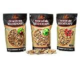 grillart XL Premium BBQ Räucherchips Mix 3er Set für ein besonderes Raucharoma – sehr rauchaktive Holzhackschnitzel - 100% natürliches Baumholz als Smoker Zubehör – 3x 750g (Apfel, Buche, Kirsche)