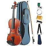 Eastar EVA-1 Akustische Violine Set 1/2 Geige für Anfänger mit Hard Case, Schulterstütze, Bogen, Kolophonium, Clip-on-Tuner und Saiten