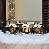 LED Weihnachtsbeleuchtung innen Weihnachts-Dorf 10tlg. handbemalt mit LED-Lichterkette warmweiß Fenster Deko Weihnachten