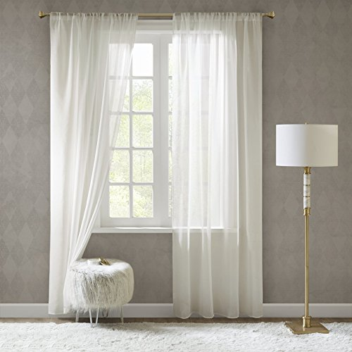 Gardinen Schals in Leinen-Optik Leinenstruktur Vorhänge Schlafzimmer Transparent Vorhang für große Fenster Doris Off White, Lang (2er-Set, je 245x140cm)