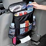 Design61 Autokühltasche Auto Organizer Rücksitz Rücksitztasche Utensilientasche mit isolierter Kühltasche mit Getränkehalter