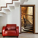 Türtapete ,,Antique Stairs TT4' 86cm x 200cm Treppe Stufen Aufgang Haus Vintage Antik Beige Braun Fototapete inklusiv Kleister