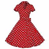 Shanxing Damen Rockabilly Kleid 1950er Retro Polka Dots Faltenrock Petticoat Party Cocktailkleid