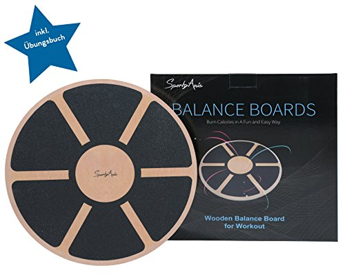 SportyAnis Balance-Board Holz inkl. Übungsbuch Wackel-Brett Therapie-Kreisel Balance-Brett Training-Gleichgewicht Gleichgewichtsboard Physiotherapie