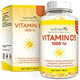 Vitamin D3 1000IU von Nutravita | Hochdosiert | 365 Softgel-Kapseln (Jahresversorgung) | Frei von Zusatzstoffen