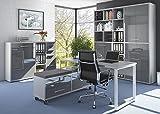 Komplettes Arbeitszimmer - Büromöbel Komplett Set Modell 2017 MAJA SET+ in Platingrau / Grauglas (SET 6)