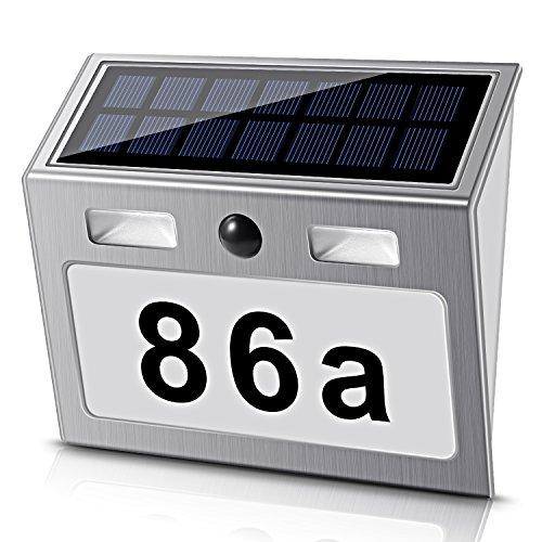Solar beleuchtete Hausnummer mit 7 LEDs, ECHTPower Solar Hausnummer Solar Hausnummerleuchte mit Dämmerungsschalter Bewegungsmelder Edelstahl, weiß