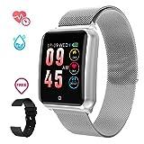 Smartwatch Herren, GOKOO Smart Uhr Stylische IP67 Wasserdicht Sportuhren Männer Jungen Aktivitätstracker mit Pulsmesser Kalorienzähler Schlaftracker 8 Trainingsmodi für Android IOS (Silber)