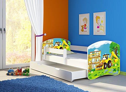 Clamaro 'Fantasia Weiß' 140 x 70 Kinderbett Set inkl. Matratze, Lattenrost und mit Bettkasten Schublade, mit verstellbarem Rausfallschutz und Kantenschutzleisten, Design: 20 Bagger