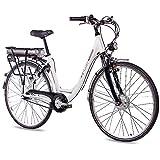 CHRISSON 28 Zoll E-Bike Trekking und City Bike für Damen - E-Lady Weiss mit 7 Gang Shimano Nexus Nabenschaltung - Pedelec Damen mit Bafang Vorderradmotor 250W, 36V