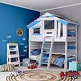 BIBEX Jugend- und Kinderbett, Doppelbett, Etagenbett, Spielhaus in zartem Creme-weiß/Himmel-blau (ohne Unterbett, mit Tür)