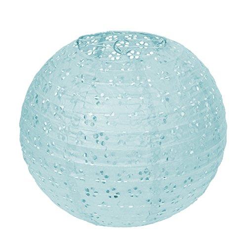Dazone 10 Stück Papier Laterne Lampion rund Papierlampen Lampenschirm für Hochzeit Kirche Garten Party Dekoration Ballform (12' (30cm), Blau)