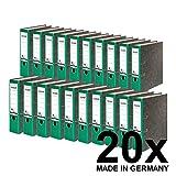 Original Falken 20er Pack Recycling-Ordner Wolkenmarmor. Made in Germany. 8 cm breit DIN A4 grüner Rücken Ringordner Aktenordner Briefordner Büroordner Pappordner Blauer Engel