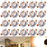 Hengda 20 x 3W LED Einbauleuchte Wohnzimmer Decken Leuchte Lampe Spot Strahler Set 2800-3200k Warmweiß 85-265V AC IP44
