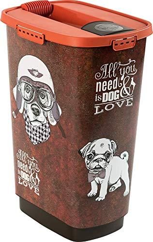 Rotho Cody Tierfutterbehälter 50 l, Kunststoff (PP), braun/orange mit Motiv 'Vintage Dog', 50 Liter (39,7 x 29,6 x 58,5 cm)