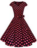 Dresstells Damen Vintage 50er Cap Sleeves Rockabilly Swing Kleider Retro Hepburn Stil Cocktailkleid Black Red Dot 3XL